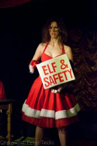 Photo of Machete Rose doing her Elf and Safety burlesque routine