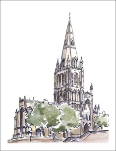 Watercolour painting of Saint Mary Redcliffe in Bristol, UK by Laura Elliott at Drawesome Illustration, Bristol. Illustration, Design, Whimsy
