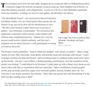 new york magazine article on brooklyn arts library's sketchbook project
