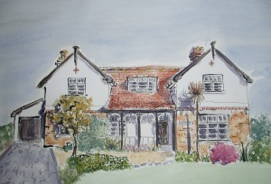 Watercolour painting of a house by Drawesome Illustration, Laura Elliott,