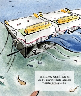editorial illustration about the mighty whale wave energy