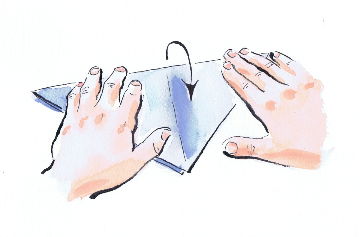 illustrated hands folding paper for an origami project. by Laura Elliott at Drawesome Illustration, Bristol. Illustration, Design, Whimsy
