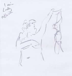 Dr Sketchy's pencil figure of burlesque performer Lady Allura