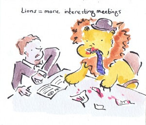 illustration of lion eating business man in meeting