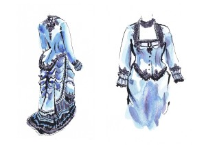 study of historical costume, blue vintage dress handcrafted