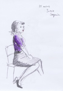 Dr Sketchy's pencil and crayon figure sketch of burlesque performer Suzie Sequin