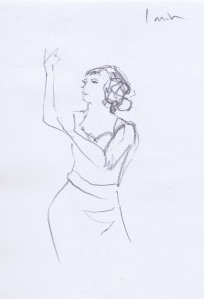 Dr Sketchy's pencil figure sketch of burlesque performer Suzie Sequin