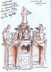 pen and pencil sketch of wooden confession box
