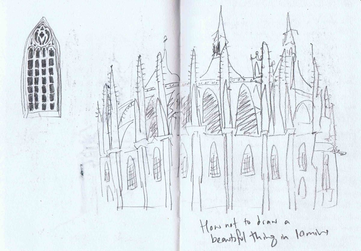 quick pencil sketch of st barbara cathedral in kutna hora