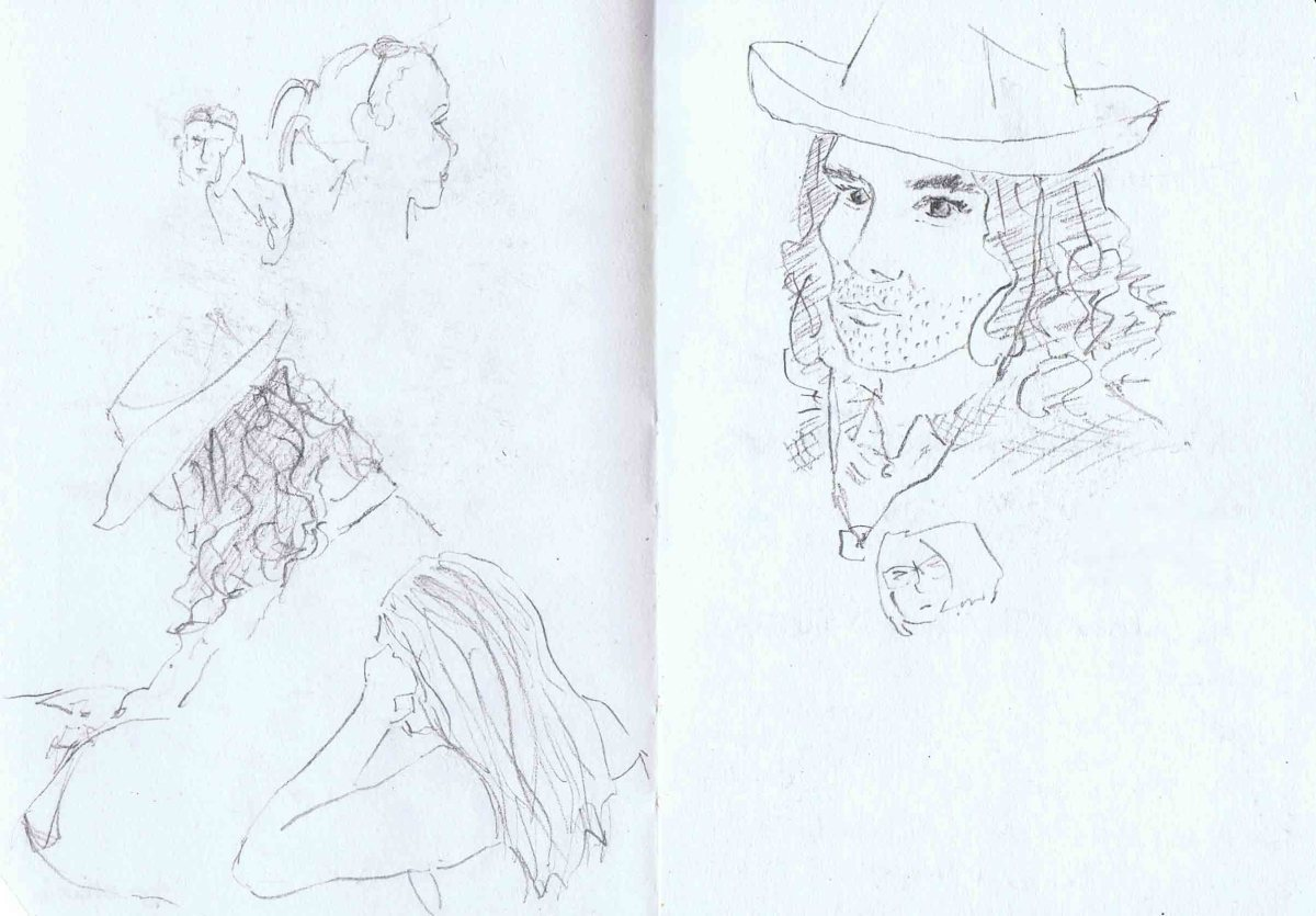 Sketches of people in Prague