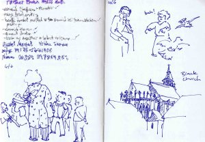 Brasov - People in the main square and black church