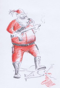 Another character from Laura's mind, this time, Rambo Santa