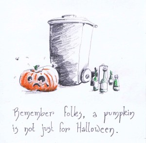 sad trashed pencil sketch pumpkin