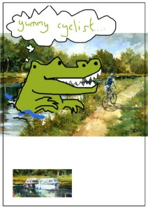 More rawr giant canal crocodile eats cyclist