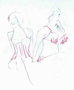 pencil and crayon drawing of burlesque life models delilah di sgrace and ally katte