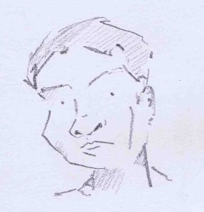 pencil sketch of man in Hamburg