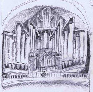 dwarfed organist playing at saint marien cathedral