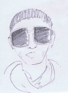 pencil sketch woman wearing sunglasses in Hamburg