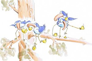 watercolour image of birds singing and playing instruments in a tree.