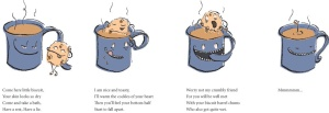 digital illustration on the theme twisted love story of a biscuit and a cup of tea