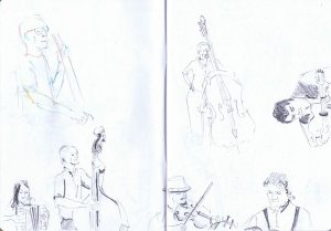 gossington festival - trio rosbif pencil sketch