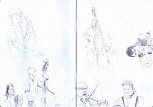 gossington festival - trio rosbif pencil sketch