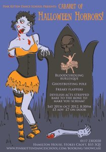 pink kitten cabaret of halloween horrors poster illustrated by laura elliott