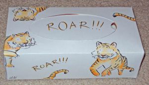 pencil pen and ink coloured tigers on tissue box, sitting jumping and roaring