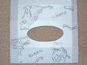 pen and ink drawings of tigers for illustrated tissue box