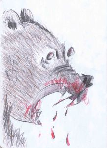 pencil sketch of angry bear having just mauled a victim
