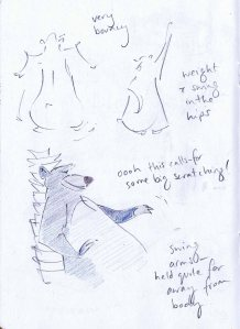 pencil sketches of baloo from the jungle book studying his walk