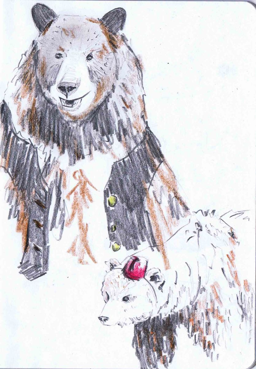 pencil drawing of dancing bears in fez and waistcoat