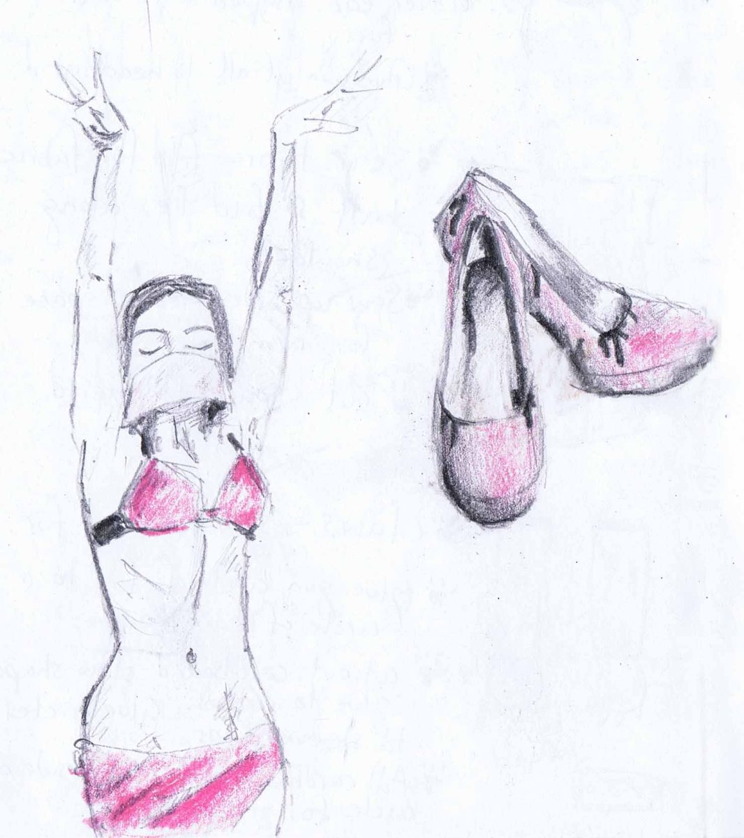 pencil drawing of belly dance costume, and high heel shoes