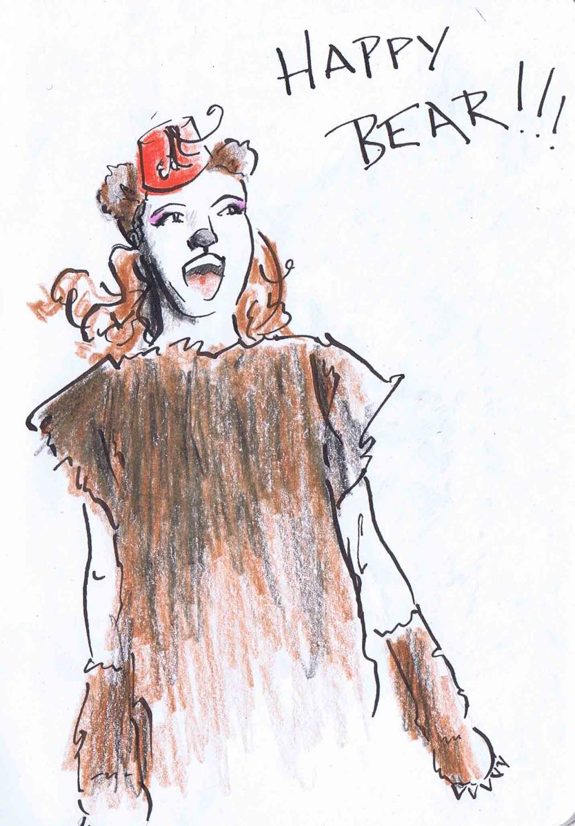 pen ink and pencil drawing of girl in bear costume