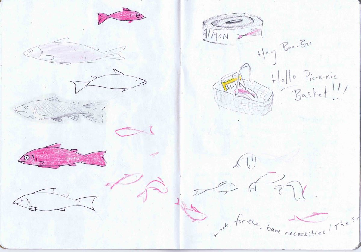 salmon and tin of salmon drawings to have items for my picnic basket