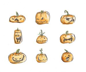 carved pumpkins halloween faces illustration