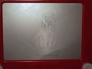 etch a sketch drawing of lion statue