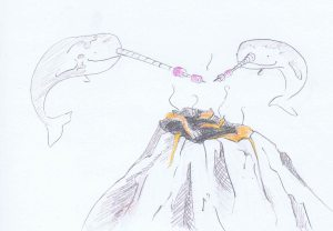narwhals roasting marshmallows on a volcano