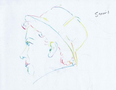 Didi Curv'e burlesque performer modelling for Dr Sketchy Bristol - multi coloured pencil sketch of her face
