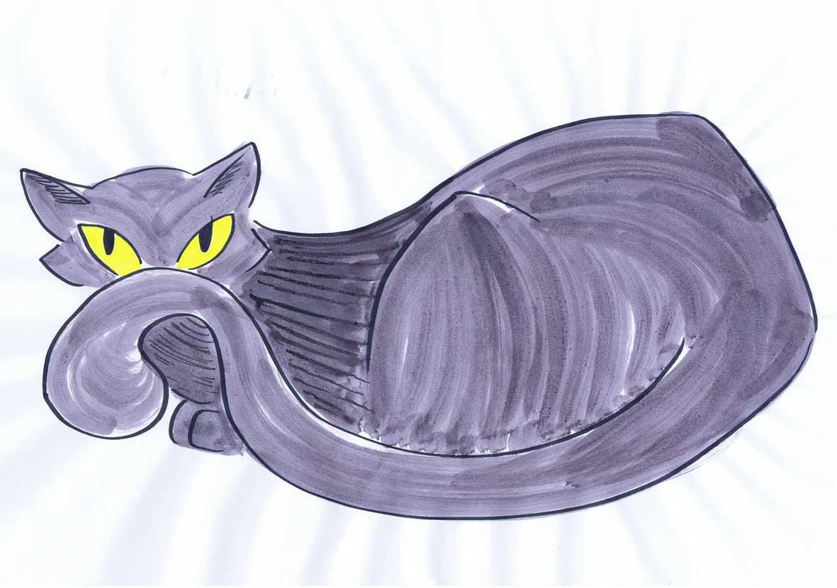 Black pussy cat illustration