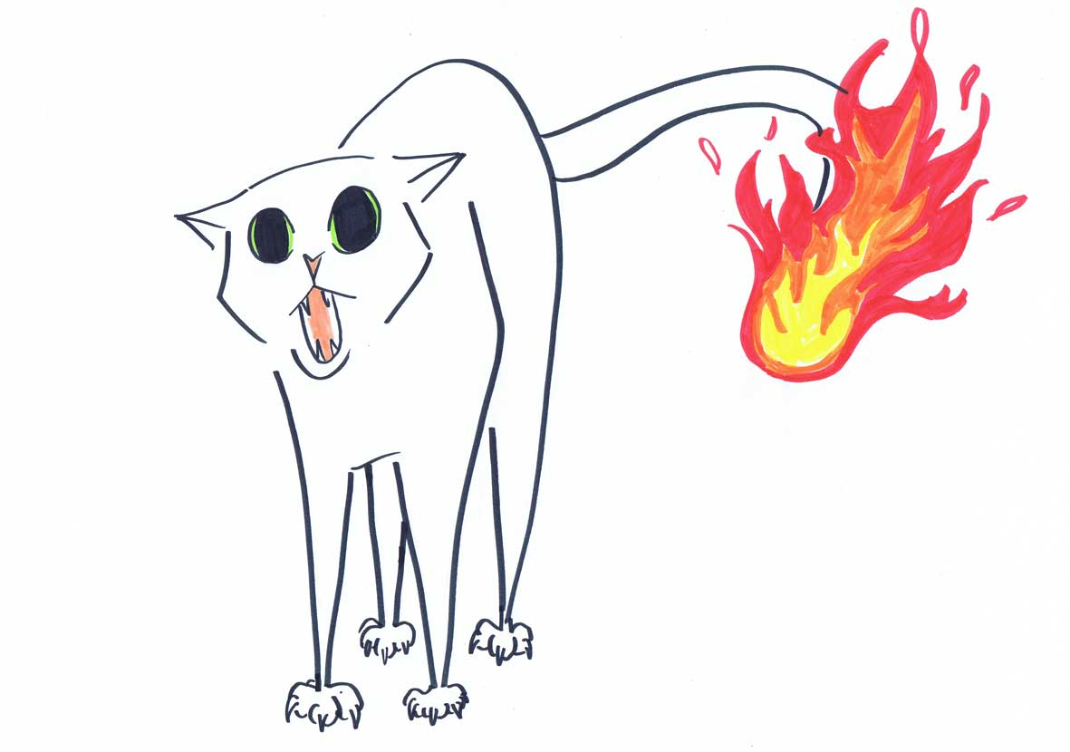 hot pussy cat with tail on fire illustration
