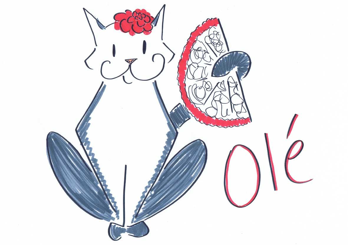 spanish pussy cat illustration