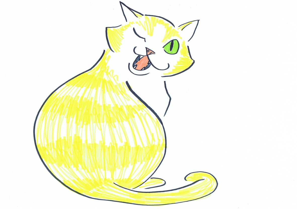 yellow pussy cat winking illustration