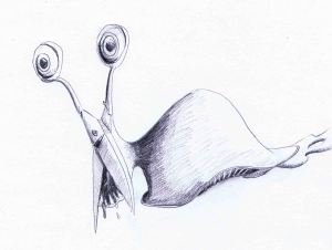 pencil drawing of a slug and scissors inspired monster