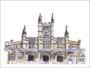 watercolour painting of Bristol Temple Meads train station by Laura Elliott at Drawesome Illustration, Bristol. Illustration, Design, Whimsy