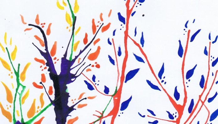 inspiration tree painted with gouache