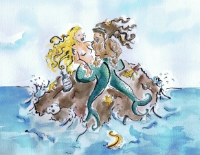 watercolour painting of pirate mermaids on a rock by Laura Elliott at Drawesome Illustration, Bristol. Illustration, Design, Whimsy