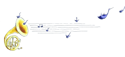Watercolour painting of an instrumental horn with birds in the shape of musical notes