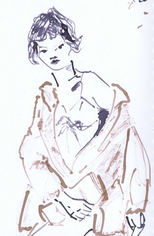line drawing of a woman wearing a brown fur coat