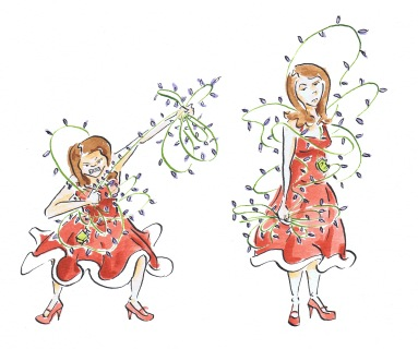 Watercolour painting of a woman getting in a tangle with fairy lights.